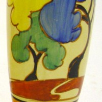 Pair of Clarice Cliff Bizarre Fantasque small vases, Hammer price:  £440
