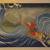 Ichiyusai Kuniyoshi, 1798 - 1861, Japan. NICHIREN CALMING A STORM AT KAKUDA. Woodcut Hammer: £700
