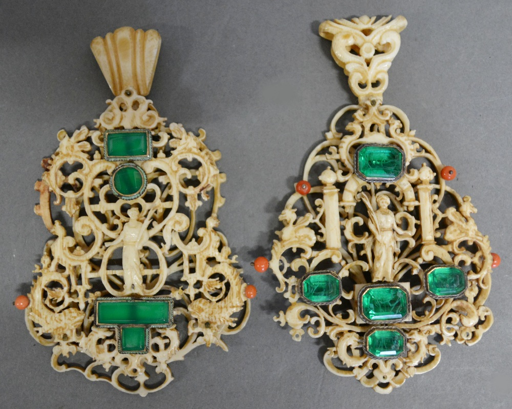 Two 17th Century Chinese Carved Ivory Coral Green Stone Set Pendants designed after Daniel Mignot, Augsburg finely carved with figures within scrolls, 11 x 7 cms £6,400