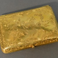 A Tested High Grade Gold Cigarette Case With Engraved Decoration, 76.3g Hammer:  £1200