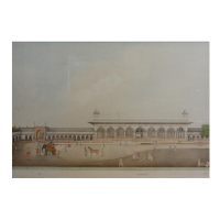 A 19th Century Indian Water Colour Study Of A Palatial Courtyard with figures, elephant and horse, signed with script. Hammer £7,200