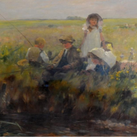id Fulton 1848-1930 Scotland, Titled Golden Summer with children fishing beside a river within a gilt frame, signed, oil on canvas 60cm by 40cm Hammer; £3,200