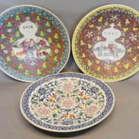 A Pair of Canton Dishes, each decorated in polychrome enamels with figures and script together with another similar Chinese charger  Hammer £720