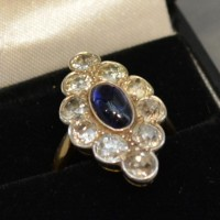 A Yellow Gold Diamond and Sapphire Dress Ring  Hammer £750